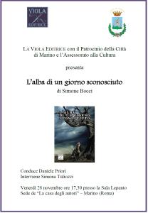 Presentazione L'alba di un giorno sconosciuto di Simone Bocci